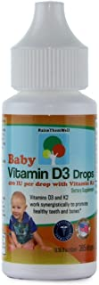Baby Vitamin D and K Drops for Ultimate Bone and Teeth Health. Controlled Dropper Tip for Precise, 1-Drop Dosing. 400 IUs of Vitamin D3 per Drop. 365 Servings (0.36 fl oz(10 ml))