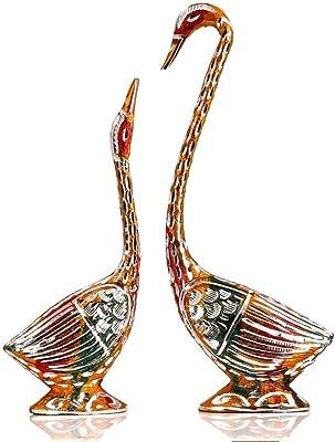 SHIVAM SWAN Love Birds Metal Statue Set Gift and Home Decor (11x9.5x1.5-inch, Multicolour)