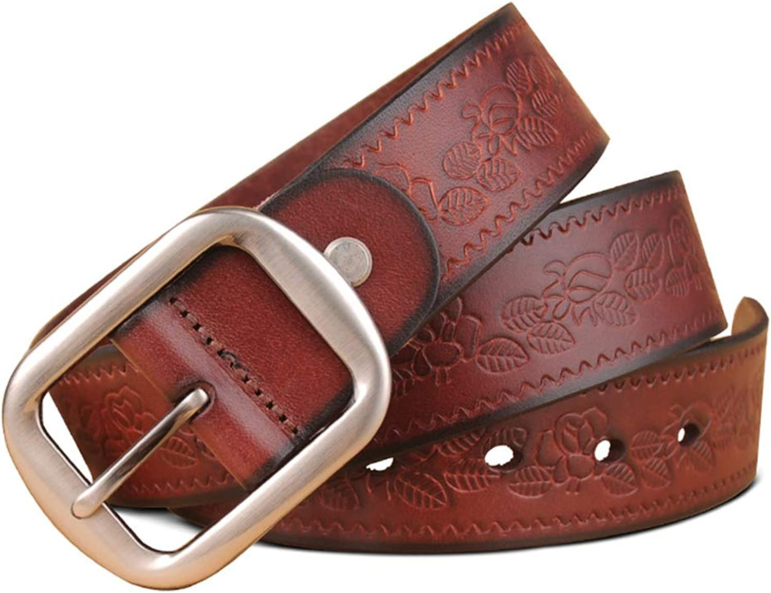 Belt Female Leather Head Layer Pure Leather Pin Buckle Fashion Simple Casual Wild Wide Jeans Embossed Belt Personality Retro (color   Brown, Size   110cm)
