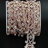 XKMY Cinturón de novia de 1 yarda con apliques de plata brillante, cinturón de costura en vestido de boda, decoración de diamantes de imitación, cadena de cristal (color: cinturón de corte 4)