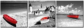 Lienzo Pintura blanco negro Histórico Barcos faros con rojo paisaje de playa en estilo vintage en Bristol Dot Coastal Maine Inglaterra 3 piezas Panel giclée