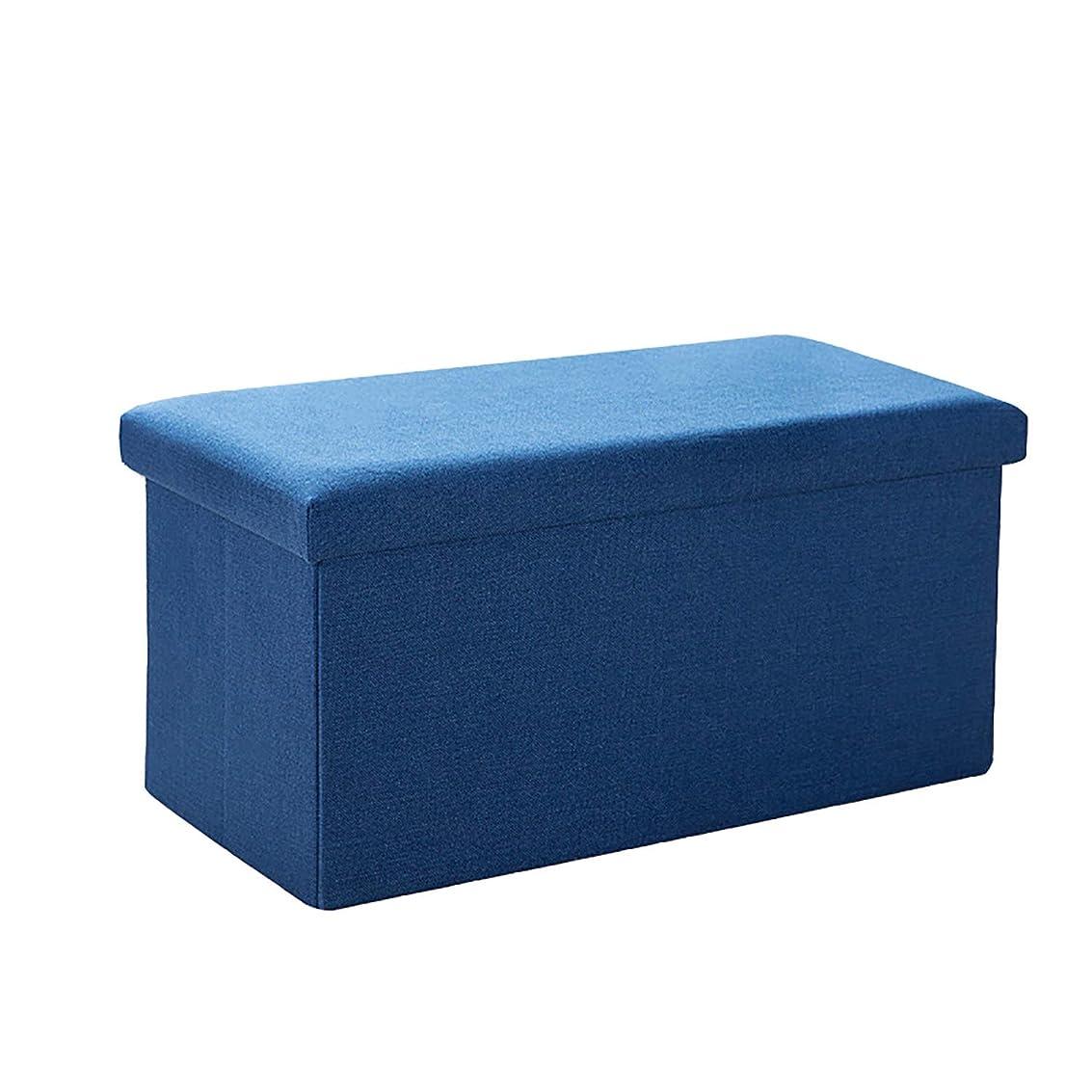 貨物プロット北極圏HSBAIS 収納オスマンベンチ、フットスツール 折りたたみ 収納ボックス リネン生地 ストレージチェア シート、モダンな家具,Navy blue_30.4