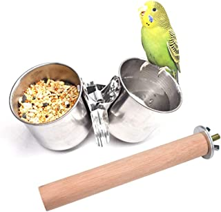 Hamkaw Bird Parrot Feeding Cups, Double Stainless Steel Bird Food Water Bowls Cups Perches Play Stand with Clamp Bird Cage Outside Feeder for Macaw Parakeet Small Pets Animals,L