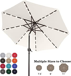 ABCCANOPY 9FT Patio Umbrella Ourdoor Solar Umbrella LED Umbrellas with 32LED Lights, Tilt and Crank Table Umbrellas for Garden, Deck, Backyard and Pool,12+Colors,(Light Beige)