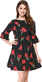 Allegra K Women's Floral Loose Tunic Bell Sleeves Swing Party Babydoll Dress