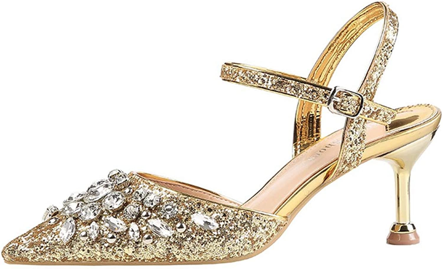 CYBLING Women's Glitter Slingback Pumps Mid Kitten Heels Ladies Pointed Toe Sandals Dress Party Weddding shoes