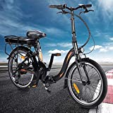 20F054 Bicicleta Eléctrica Plegables, 250 W Marco plegable de 20 pulgadas Bicicleta eléctrica Engranajes de 7 velocidades con batería de iones de litio de 10 Ah extraíble para viajeros - [EU Direct]