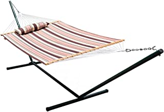Lazy Daze Hammocks 15 Feet Heavy Duty Steel Hammock Stand, Two Person Quilted Fabric Hammock and Pillow Combo,Brown Stripe
