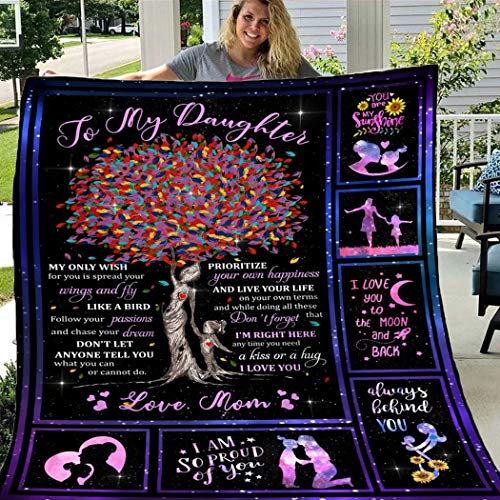 """FFXN Blanket to My Daughter from Mom Letter Printed Quilts Fleece Blankets Birthday Gifts Valentine's Day Holiday Throw Blankets for Bed Couch Living Room (Mom, 60""""x80"""")"""