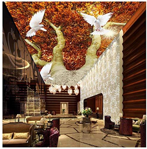 Muurschilderingen Aangepaste 3D Behang HD Bos Plant Boom Zonlicht Dier Duif Plafond Mural Slaapkamer Woonkamer Eetkamer Achtergrond Muur Home Decoratie 300(w)x210(H)cm