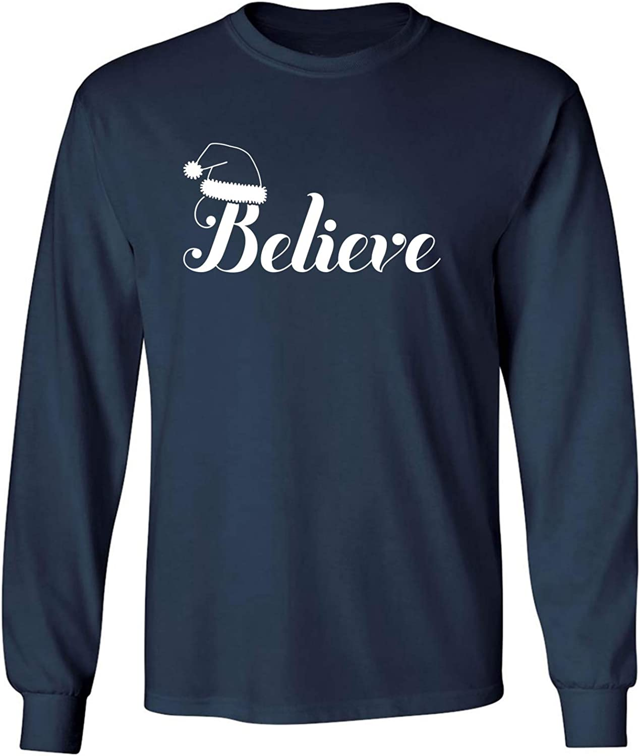 Believe Adult Long Sleeve T-Shirt in Navy - XXXXX-Large