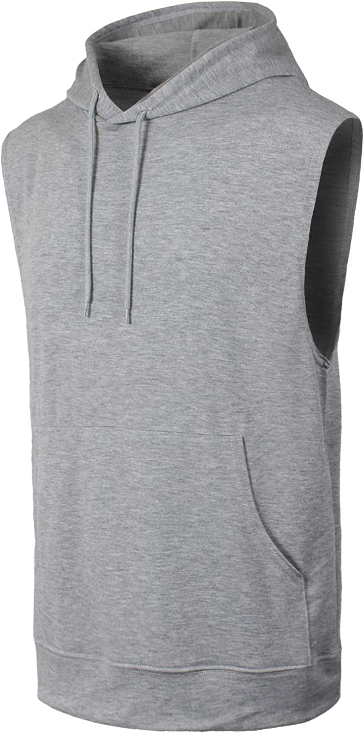 JC DISTRO Men's Workout Lightweight Sleeveless Hoodie Tank Top Gym shirt also available in Big Sizes
