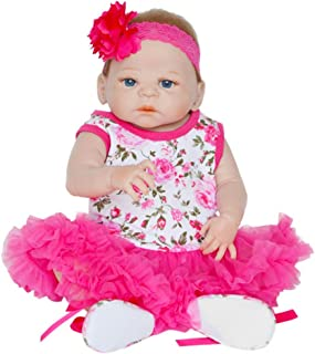 HHoo88 Reborn Baby Doll, 55cm Cute Lifelike Realistic Full Body Soft Silicone Vinyl Baby Girl Dolls Newborn Baby Dolls with Pacifier & Bottle, Toddler Doll Xmas Gift Set for Age 3+ (C)
