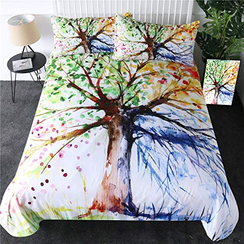 Bedding Duvet Cover 3D Printed Four Seasons Tree Quilt Duvet Cover with Zipper Closure for child Adults, Soft Microfiber Bedding 1pcs Duvet Cover (78.5x78.5 inch) and 2pcs Pillow Cover