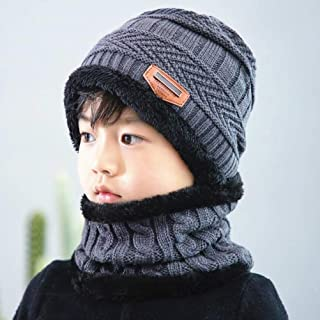 Xiaoai Winter Unisex Fleece Lined Knitted Hat and Circle Scarf Set Warm Beanie Hat Skullies Cap for Kids