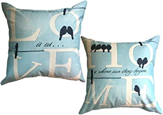 Love Birds Throw Pillow Covers Square Couple Pillowcases Home Decorative Cushion Covers 18 x 18 Inches,2Pack for Family/Lovers/Valentine's Day/Wedding Decoration(Love Birds)