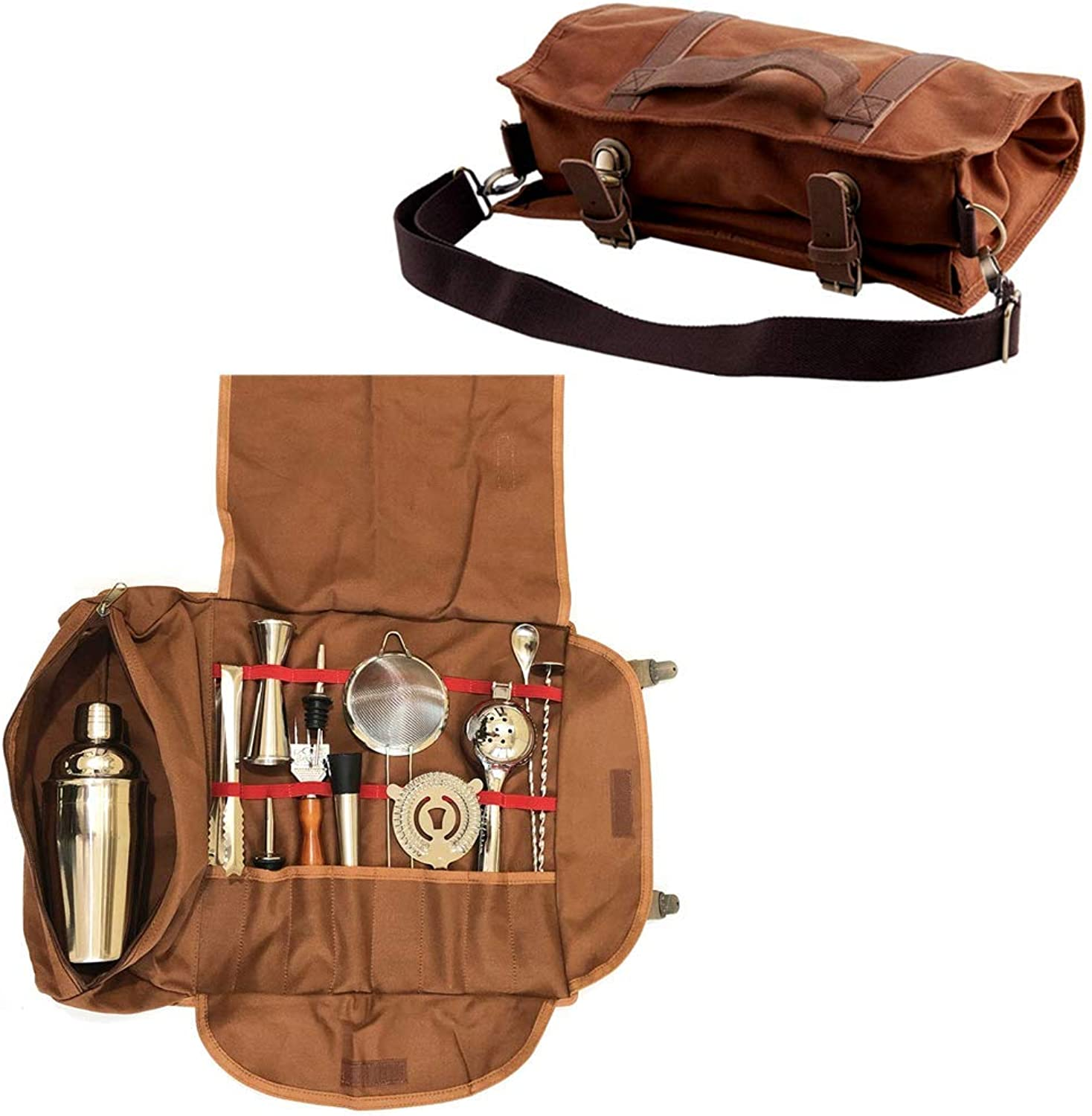 Bartender Kit Bag – Portable Bar Tool Roll Bag, Perfect for traveling and Party Event – GJB01 (Bag+Tools)