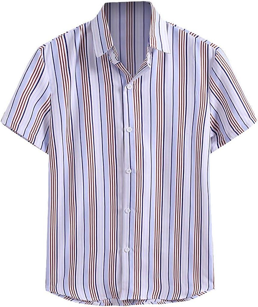 FUNEY Mens Floral Hawaiian Shirts Short Sleeve Button Down Beach Shirts Casual Summer Loose Fit Striped Shirts Tee Tops