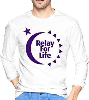 VANMASS Mens Relay for Life Tee Shirt Round Neck Long Sleeve T-Shirt for Men