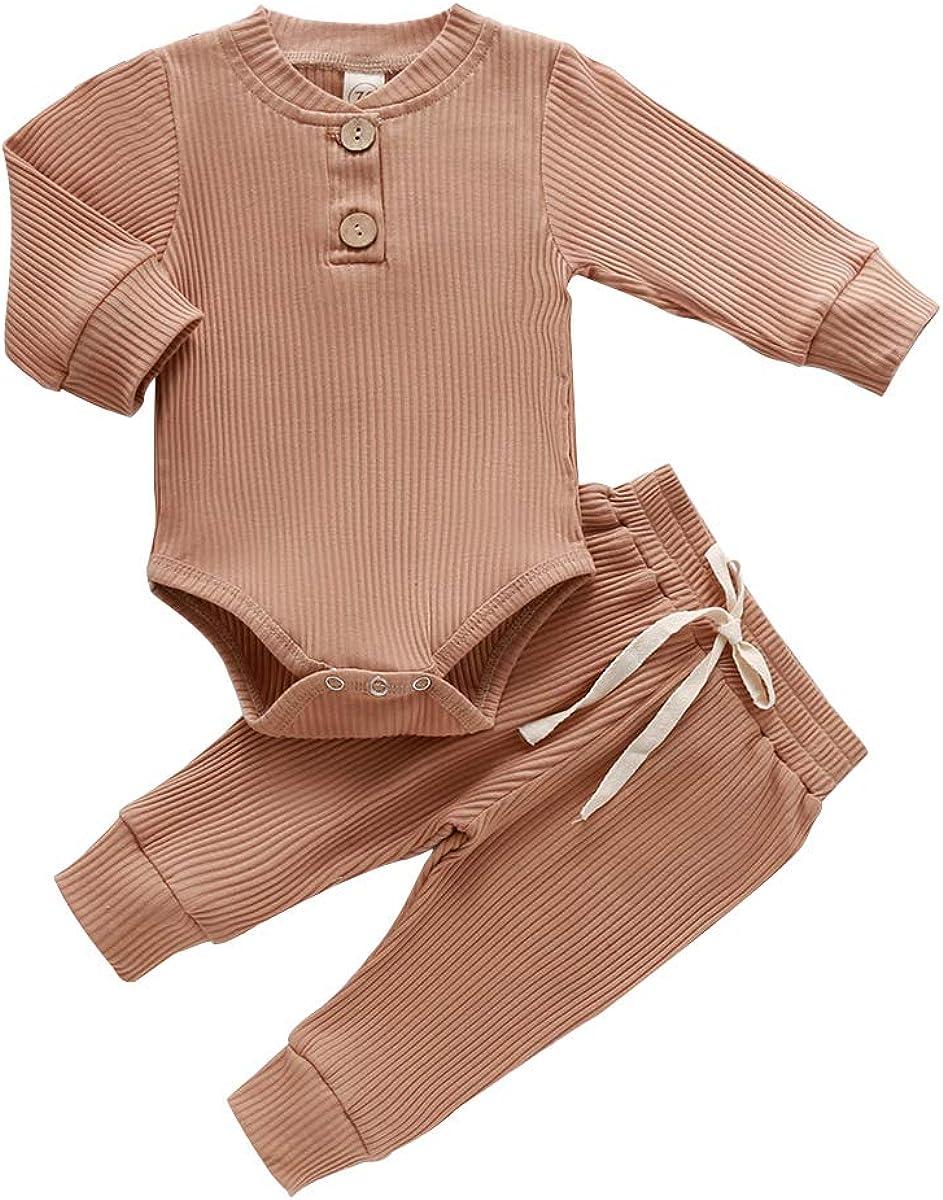 Unisex Baby Pajamas Baby Girl Boy Clothes, Plain Solid Long Sleeve Romper Bodysuit Tops Pants 2PCS Outfit Pjs Sleepwear