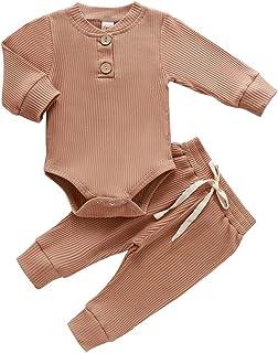 لباس دخترانه نوزاد پسر بچه دار پارچه ای بافتنی پنبه ای آستین بلند رومپر شلوار بلند رنگ تک رنگ پاییز فصل زمستان