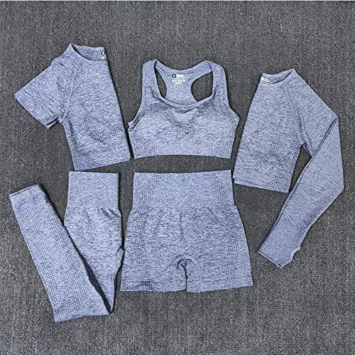YEESEU Set de Yoga de 5 Piezas sin Fisuras Set de la Camisa Superior de la Manga Larga Sujetador y Leggings Sportswear Entrenamiento de Ropa Deportiva Gimnasio Ropa Fitness (Color : Grey, Size : M)