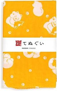 彩(irodori) ガーゼ手ぬぐい 福ねこ イエロー 黄 小粋手拭 日本製 てぬぐい 二重袷 二重ガーゼ ほつれ防止加工 約33×88cm