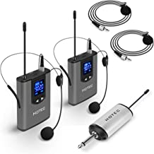 Hotec Wireless System with Dual Headset Microphones/Lavalier Lapel Mics and Bodypack Transmitters and One Mini Rechargeable Receiver 1/4