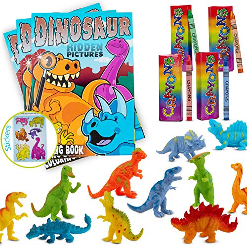 Favonir Party Favor Dinosaur Character Design Coloring Books And Crayons Set – Includes 12 Rubber Squeeze Dino Figurines - 12 Books and 12 Pack Crayons- For School, Home And Birthday Party Goodies