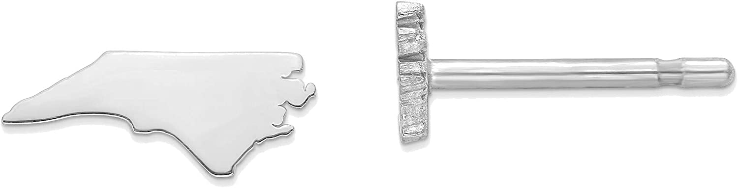 14kt White Gold NC Small State Earring