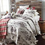 Rod's Vintage Western Cowboy Print Brown and Cream Reversible Quilt Size Full/Queen