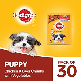 Pedigree Puppy Wet Dog Food, Chicken And Liver Chunks Flavour in Gravy with Vegetables, 30 Pouches (30 X 70g)