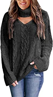 Yskkt Womens Choker Sweater Plus Size Sexy V Neck Turtleneck Cable Knit Chunky Oversized Pullover Sweaters Tops