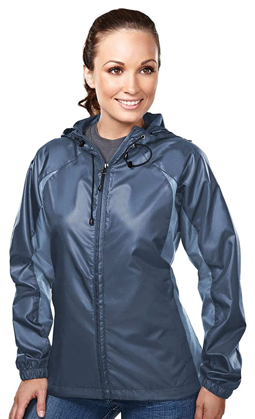 TRM Women's Windproof/Water Resistant Tailored Fit Hooded Shell Jacket (4 Color)