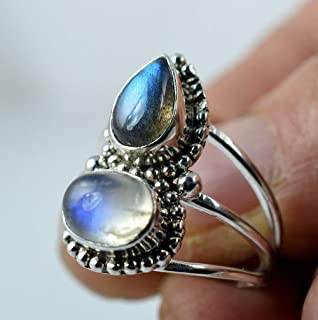 Rainbow Moonstone, Labradorite 925 Solid Sterling Silver Handmade Ring # 3 to 13