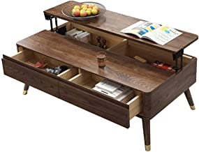 Lift Top Coffee Table Storage Table with 2 Drawer and Hidden Storage Compartment, Pop-Up Tabletop Computer Table for Livin...