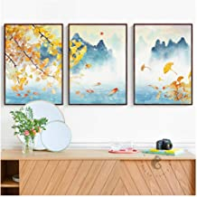 WSTDSM Triptych New Chinese Four Seasons Landscape Paintings Canvas Posters and Prints Wall Art Pictures for Living Room Home Decor 60x80cmx3 (no Frame)