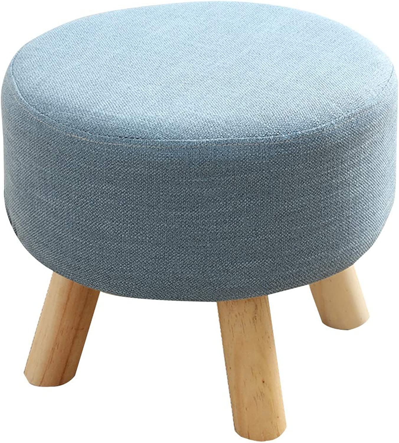 LSXIAO Sofa Stool Framework Solid Wood Leg Stool Doorway Change shoes Cloth Soft Comfortable Modern Simplicity, 4 colors (color   bluee, Size   40X40X32CM)
