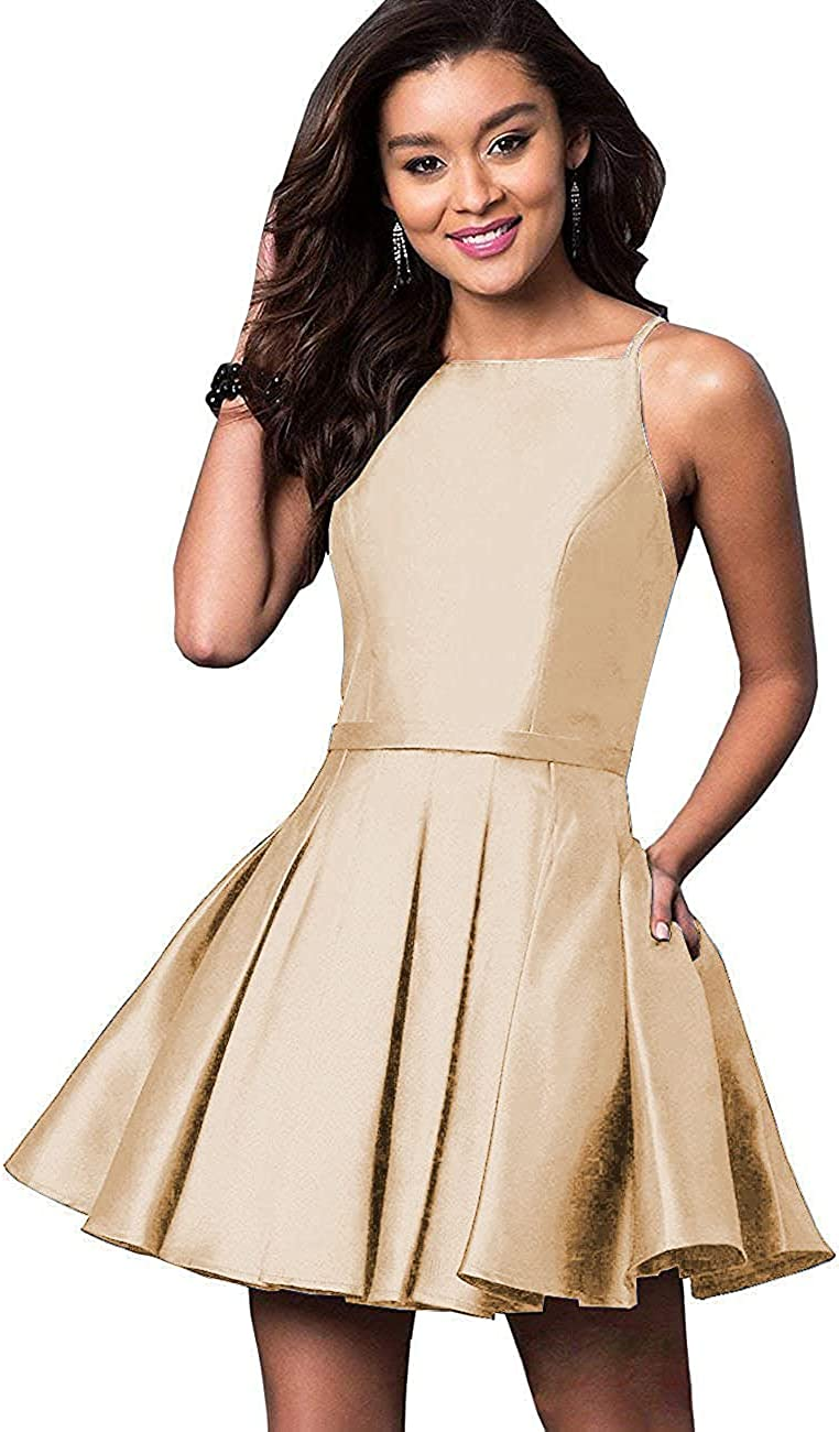 NewFex Spaghetti Strap Satin Homecoming gift Dresses Popular shop is the lowest price challenge Short Dress Prom