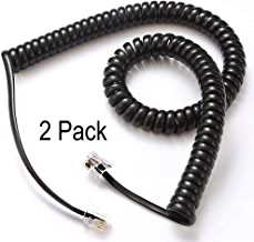 Telephone Cord, Phone Cord, Handset Cord, Black, 2 Pack, Universally Compatible