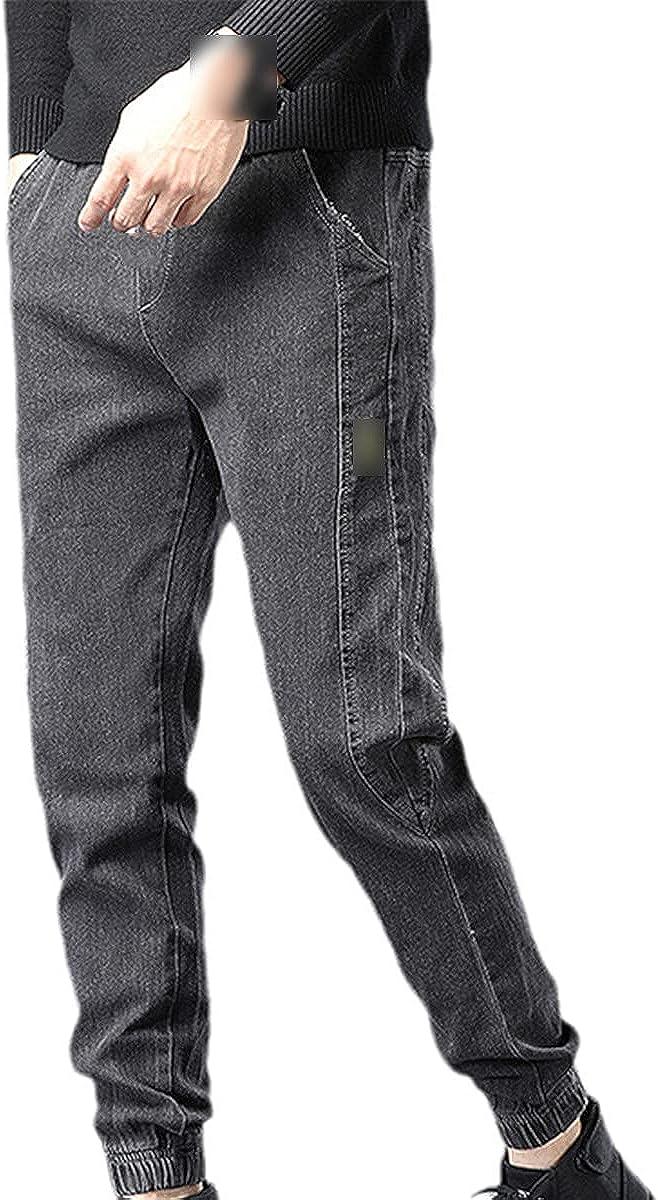 CACLSL Spring and Summer Men's Jeans Cotton Denim Hip-hop Casual Pants Jogging Street wear Tight Blue Pants