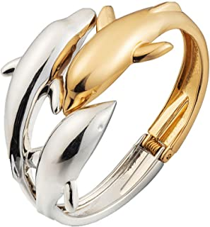 ODETOJOY Dolphin Bracelet for Women 18K Gold Silver Plated Three Dolphins Bangle Bracelets Elegant Jewelry for Ladies