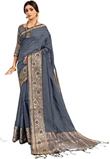 Grey Designer Indian Bollywood Women Party Wear Chanderi Weaving Cotton Sari Blouse With Multi Border and Small Tasells 6066