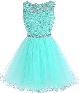 Dydsz Women's Short Prom Dress Homecoming Dresses Beaded Appliques Party Cocktail D126