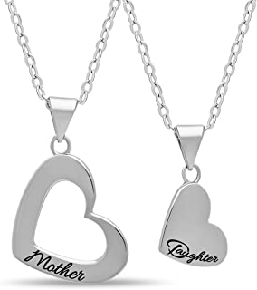 925 Sterling Silver Mother Daughter Heart Necklace Set - 14К Gold Over Solid Silver Heart Necklaces for Mom and Daughter
