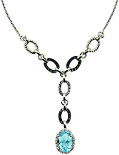 """RB Gems Sterling Silver 925 Necklace Genuine GEMS Oval 18x13 mm 16 Cts Rhodium-Plated Finish 14""""+2"""" Long"""