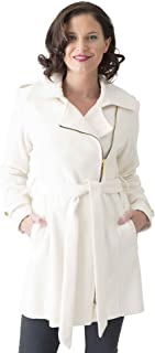 Coat Man 3/4 Fashion Belted Coat with Size Zip and 2 Way Collar Which Can Be Closed Or Left Open