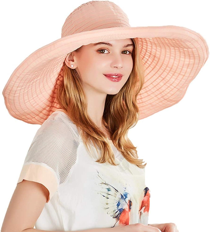 Summer Cool Hat Female Sun Hat Sunscreen UV Predection Big Hat Foldable Visor Wild Fashion (color   Bare Pink, Size   5657.5cm)