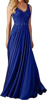 La_Marie Braut Blau Langes Spitze V-Ausschnitt Abendkleider Brautjungfernkleider Ballkleider Festlichkleider