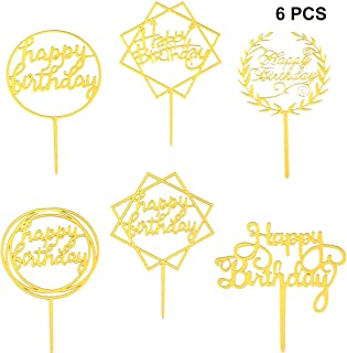 Tomaibaby 6pcs Happy Birthday Cake Toppers Funny Cupcake Toppers Dessert Cake Picks for Birthday Holiday Party Golden